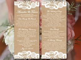 tea length wedding programs vintage lace wedding program template kraft