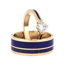 gold wedding ring sets lapis lazuli wedding ring set matching gold wedding band set