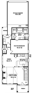 narrow house plans with garage havercliff narrow lot home plan 087d 0100 house plans and more