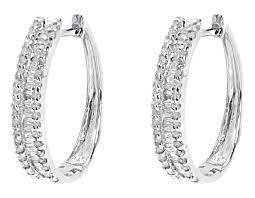 white gold diamond hoop earrings 10k white gold baguette diamond 20mm huggie hoop