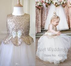 cute metallic flower dresses 2016 new kids rose gold sequin