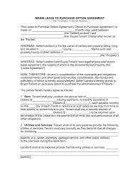 free maine lease to own option to purchase agreement template