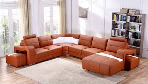 White Leather Sectional Sofa Casa T358b Modern Orange U0026 White Leather Sectional Sofa