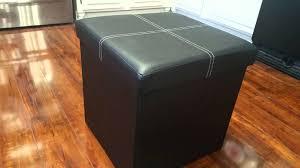 black faux leather collapsible storage ottoman on amazon youtube