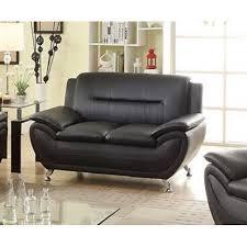Modern Loveseats Ufe Norton Faux Leather Modern Loveseat Black Walmart Com
