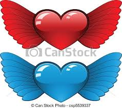 Hearts With Wings - hearts with wings and blue with wings on a white