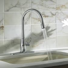 kohler gooseneck kitchen faucet kohler simplice kitchen sink faucet with 16 5 8 pull spout