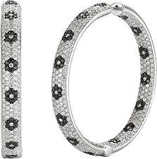 black diamond hoop earrings 14k white gold pave diamond hoop earrings 9 62cts 150 2694