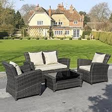 Patio Furniture Sofa by Amazon Com Goplus 4 Pcs Brown Wicker Cushioned Rattan Patio Set