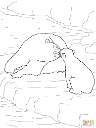 polar bear baby and mother coloring page free printable coloring