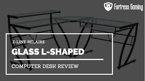Glass Gaming Desk by Z Line Belaire Glass L Shaped Computer Desk Review Fg
