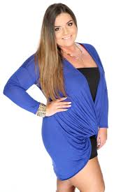 casual cute royal blue draped front long sleeves plus size sweater