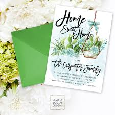 Invitation Card For Housewarming Housewarming Party Invitation Succulent Terrarium Boho Party New