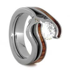 titanium engagement rings womens wedding ring set tension set moissanite engagement ring