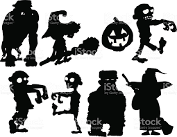 Halloween Silhouette Halloween Silhouettes With Zombies Etc Stock Vector Art 119582334