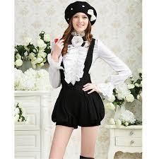 victorian women lady long sleeve shirt tops high neck frilly