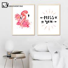 kawaii flamingo unicorn nursery canvas poster canvas prints wall