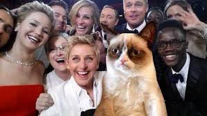 Oscars Meme - ellen s oscar selfie keeps internet busy as grumpy cat others go