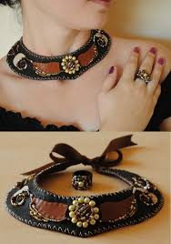 genti handmade piele set colier si inel din piele naturala genti handmade