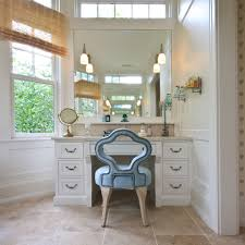 makeup vanity table bathroom transitional with cream shower