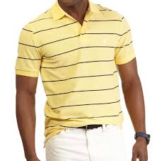 nautica stripe deck anchor polo shirt corn yellow small