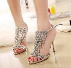 Wedding Shoes Sandals 2015 Sale High Heel Gold Silver Rhinestone Shoes Wedding Shoes
