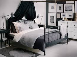 Ikea Bedroom Ideas by Svelvik Black Bed With Hemnes Bedside Tables And Alina Dark Grey