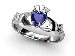 clatter ring 14k white gold sapphire claddagh ring