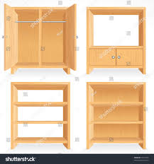 Closet Set by Vector Set Natural Wooden Furniture Isolated Stock Vector 76315594