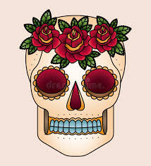 skull and flowers tattoo isolated icon design stock vector image