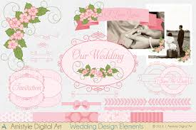 wedding design elements and papers for invitations banners