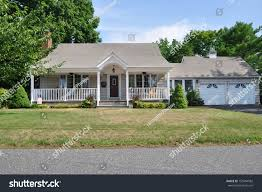 suburban bungalow style home attached garage stock photo 155594582