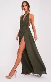 maxi dress alina khaki plunge maxi dress dresses prettylittlething
