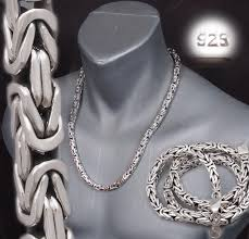 mens silver byzantine necklace images 7mm square shape heavy bali byzantine 925 sterling silver mens jpg