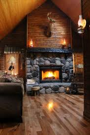 artistic stone fireplace design in living room areas with brown