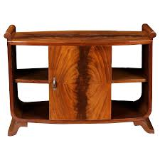 french art deco burl wood side table cabinet chairish