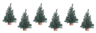 set of 6 tabletop pine trees 12 inches high on wood bases