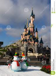 disneyland paris castle with christmas decorations editorial photo