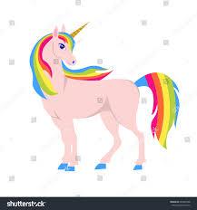 unicorn illustration rainbow hair isolated on stock vector