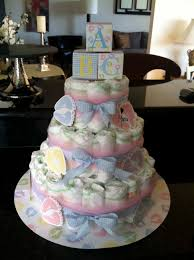 blue baby shower diaper cake centerpiece from scratch with maria