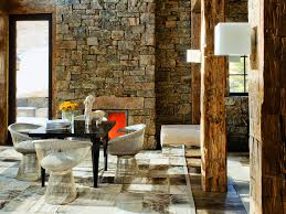 Rustic Stone Adds Texture To This Modern Space Modern Rustic - Interior design rustic style
