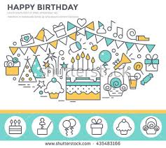 happy birthday greeting card cake party stock vector 435483166