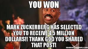 Thank God Meme - you won mark zuckerberg has selected you to receive 4 5 million
