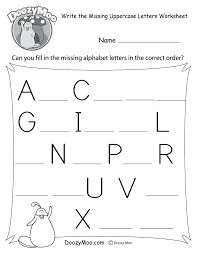 Writing The Alphabet Worksheets Missing Letter Worksheets Free Printables Doozy Moo