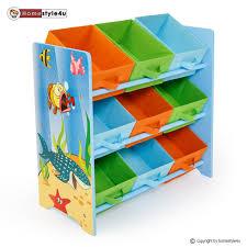 boxen regal kinderzimmer kinderregal mit 9 boxen unter wasser spielzeugtruhen