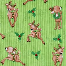 adorable green reindeer mistletoe winter animals fabric