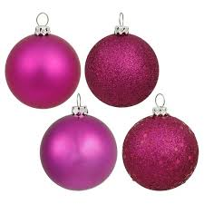 32ct magenta assorted finishes shatterproof ornament set