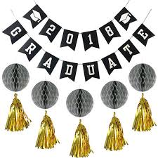 graduation decorations haochu 11pcs black white gold graduation decorations set laser
