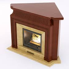 3d wood corner fireplace cgtrader