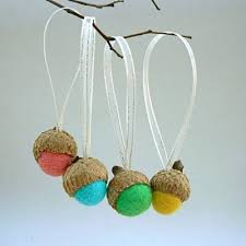 needle felted ornaments felted acorns fairies and